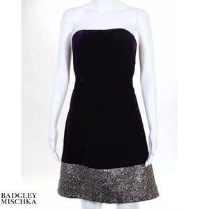 BADGLEY MISCHKA Purp/Silver Velvet Strapless Dress
